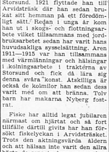 Nyberg Albin Ragnar Arvidsträsk 70 år 22 Maj 1965 PT
