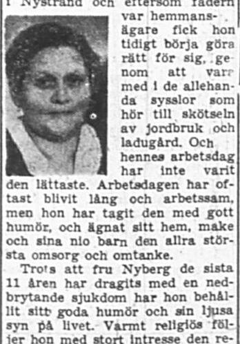 Nyberg Anna Augusta Nystrand 60 år 31 Aug 1957 PT