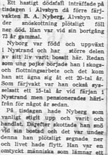 Nyberg Bror Albin Älvsbyn död 21 Dec 1966 NK