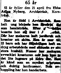 Nyberg Ebba Adina Arvidsträsk 60 år 21 april 1964 NK