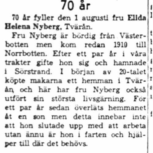 Nyberg Elida Helena  Tvärån 70 år 1 Aug 1958 NK