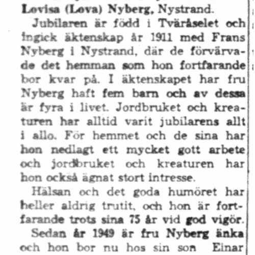 Nyberg Emma Lovisa Nystrand 75 år 19  Juli 1958 Nk