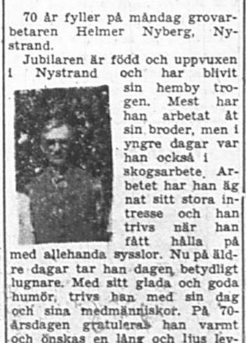 Nyberg Helmer Nystrand 70 år 31 Aug 1957 PT