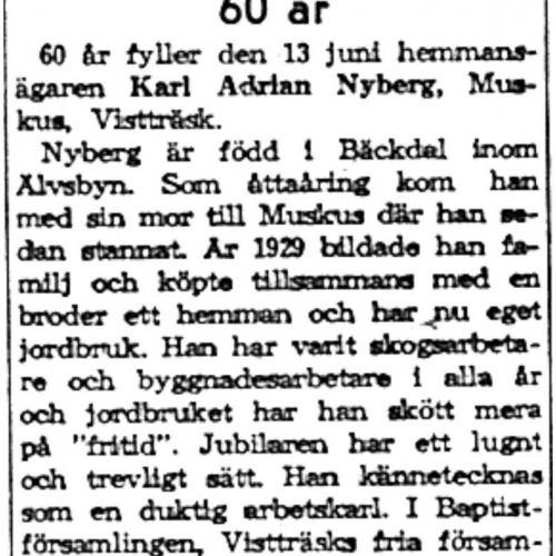 Nyberg Karl Adrian Muskus 60 år 13 Juni 1959 NK