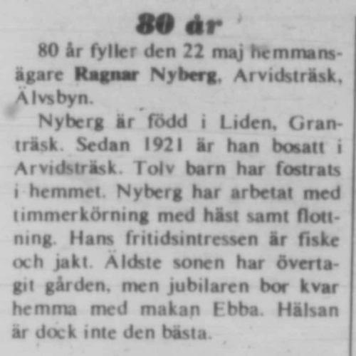 Nyberg Ragnar Arvidsträsk 80 år 21 Maj 1975 NK