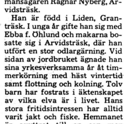 Nyberg Ragnar Arvidsträsk 80 år 21 maj 1975 PT