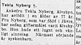 Nyberg Tekla Älvsbyn död 18 feb 1954 Nk