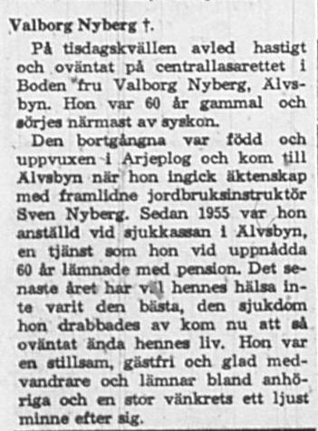 Nyberg Valborg Älvsbyn död 9 Dec 1965 PT