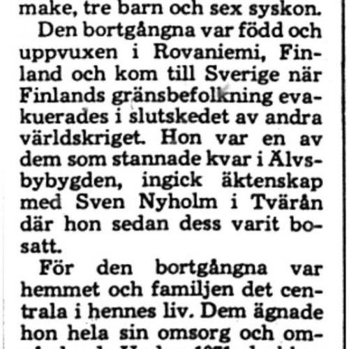Nyholm Aira Katarina Tvärån död 25 Feb 1975 PT