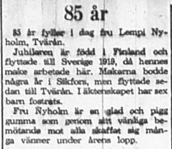 Nyholm Lempi Tvärån 85 år 14 Aug 1965 PT