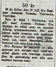 Nyman Amanda Vistträsk 50 år 27 juli 1966 Nk