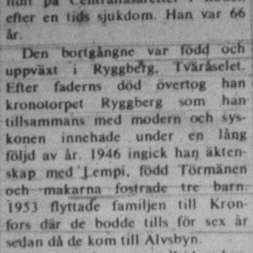 Nyman Axel Älvsbyn död 9 aug 1972 NK