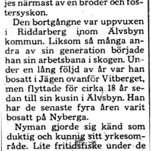 Nyman Axel Egon Älvsbyn död 13 Feb 1975 PT
