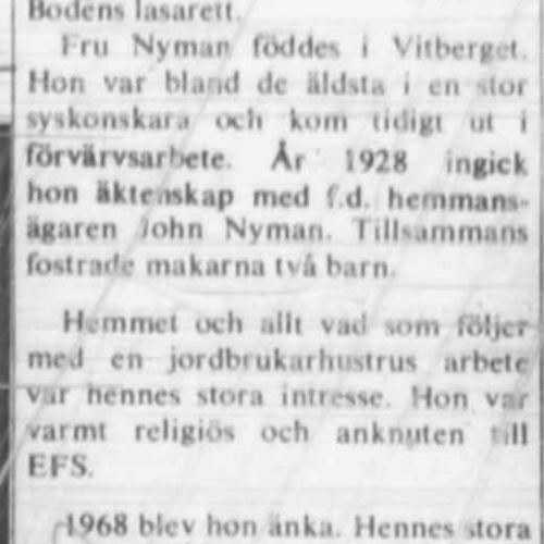 Nyman Frida Älvsbyn död 22 Juni 1972 NK