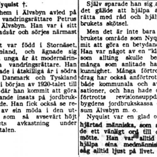 Nyquist Petrus Älvsbyn död 5  Aug 1954 NK