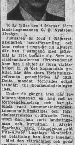 Nyström Carl Olof Älvsbyn 70 år 5 Feb 1953 NK