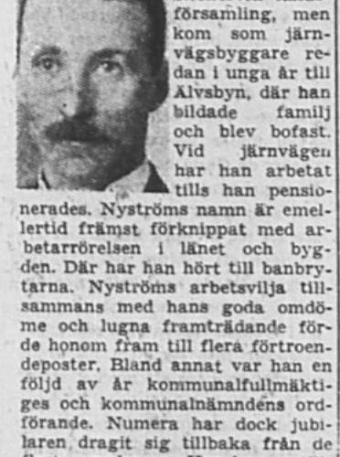 Nyström Carl Olof Älvsbyn 70 år 6 Feb 1953 NSD
