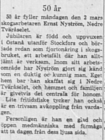 Nyström Ernst Nedre Tväråsel 50 år 2 Mars 1964 NK