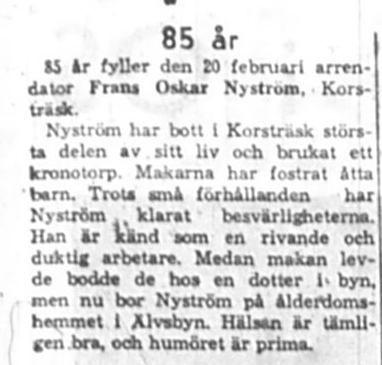 Nyström Frans Oskar Korsträsk 85 år 20 Feb NK