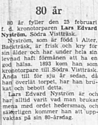 Nyström Lars Edvard Södra Vistträsk 80 år 24 feb 1949 NK