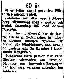Nyström Viktoria Vidsel 60 år 1 Sept 1961 NK