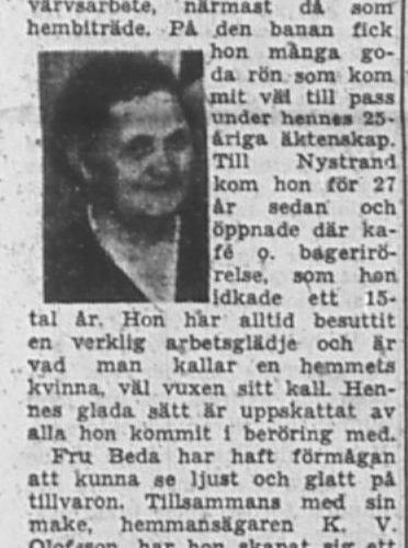 Olofsson Beda Nystrand 60 år 15 Jan 1953 PT