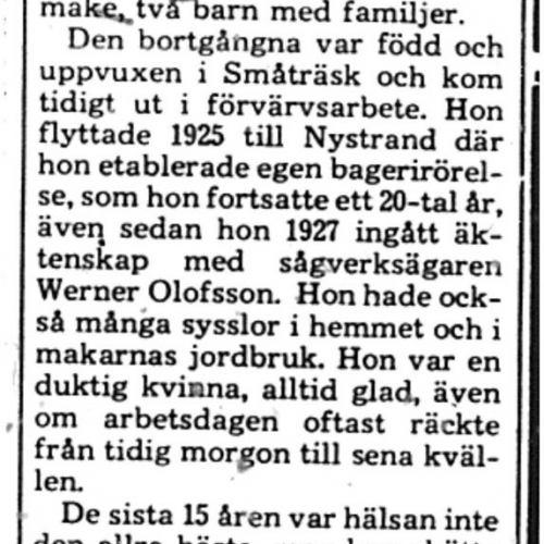 Olofsson Beda Nystrand död 20 Mars 1975 PT