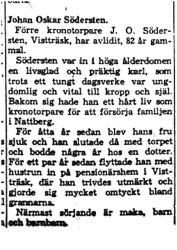 Södersten J O Vistträsk död 13  Maj 1959 NK