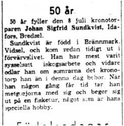 Sundkvist Johan Sigfrid Idafors 50 år 8  Juli 1959 NK