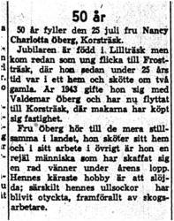 Öberg Nancy Charlotta Öberg Korsträsk 50 år 24   Juli 1959 NK