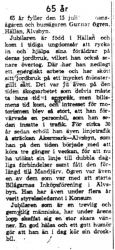 Ögren Gunnar Hällan 65 år 14   Juli 1959 NK