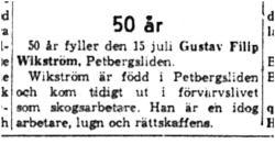 Wikström Gustav Filip Petbergsliden 50 år 15   Juli 1959 NK