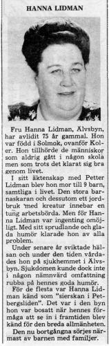Hanna Lidman 1900-1976
