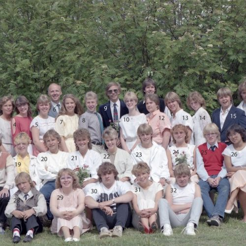 1984 klass 9 A examen i Älvsby kyrka