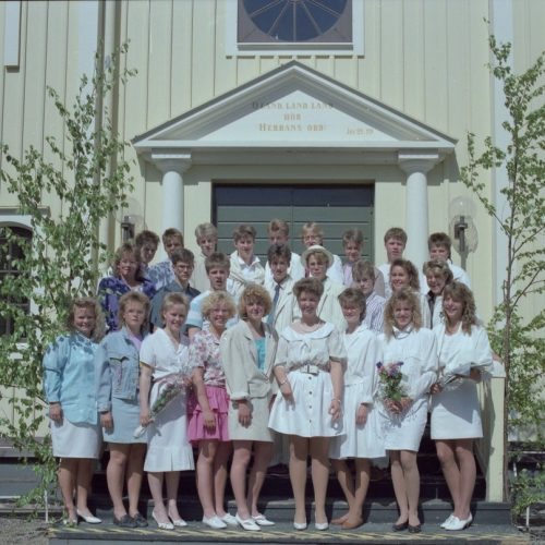 1989 Klass 9 A examen i Älvsby kyrka