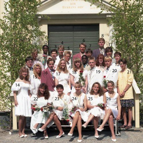 1992 Klass 9 B examen i Älvsby kyrka