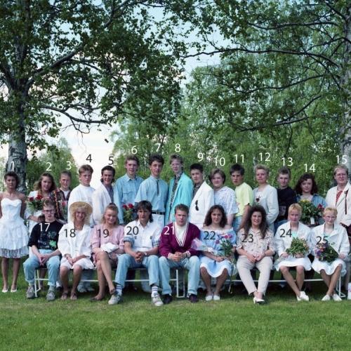 1990 Klass 9 B examen i Älvsby kyrka