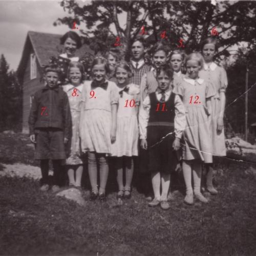 1937-38 klass 2,4,6, sista klasserna vid Teugerträsk skola (Teugerliden)