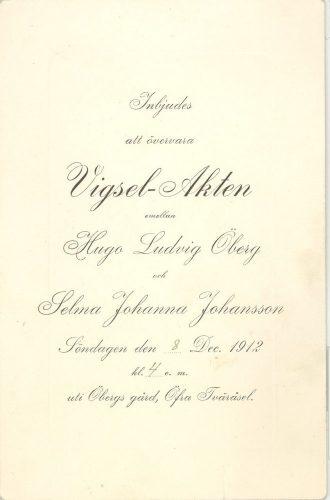 Inbjudan till vigselakt 1912.