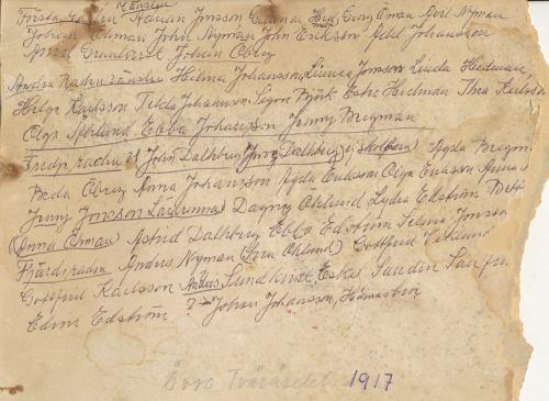1917 Skolklass Tväråselet Kortbaksida.