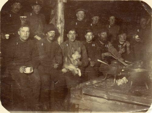 Skogshuggare vintern 1920. Kojan belägen uppe i Slättberget efter Stockforsälven.
