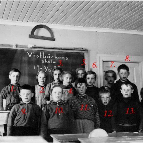 1938 skolklass i Vistbäcken
